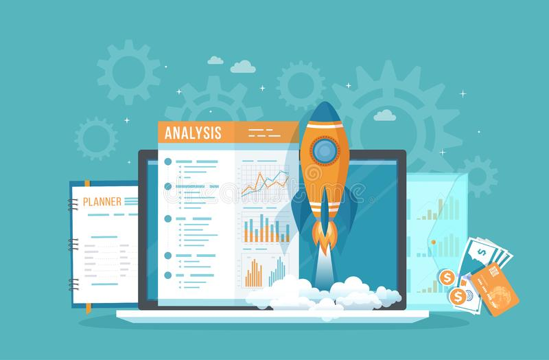 Business project startup Analysis Analytics. Financial planning, idea, strategy. Management, realization, success.Rocket launch royalty free illustration