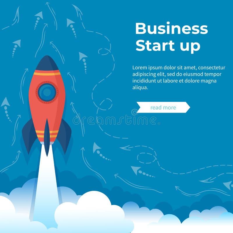 Business project startup, financial planning, idea development process, strategy, management, realization and success. Rocket laun vector illustration