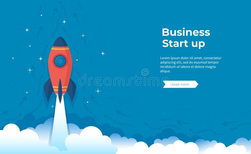 Business project startup, financial planning, idea development process, strategy, management, realization success. Rocket launch royalty free illustration