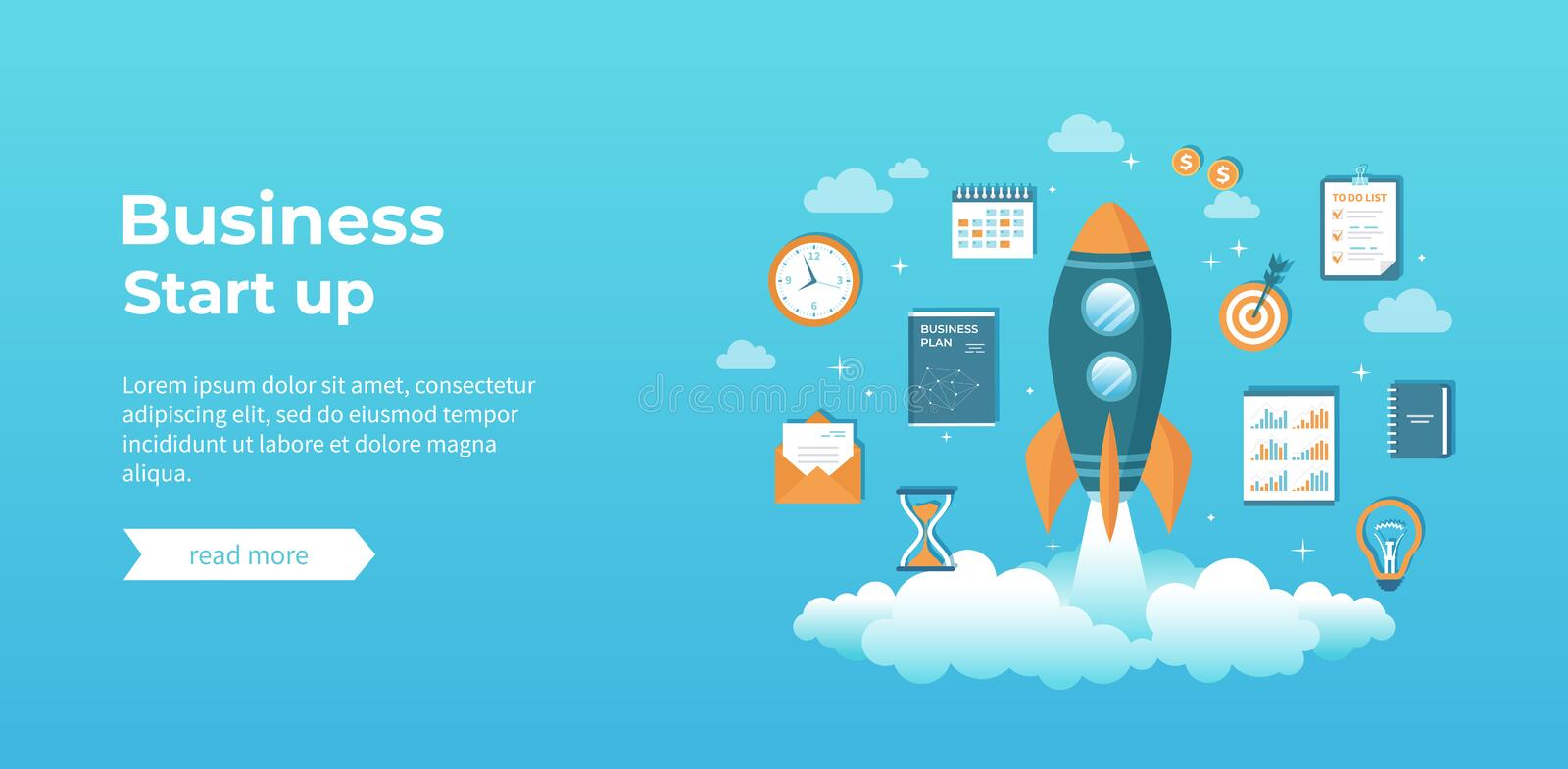 Business project startup, financial planning, idea, strategy, management, realization and success. Rocket launch with documents stock illustration