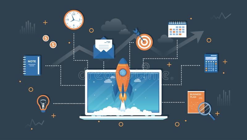 Business project startup, financial planning, idea, strategy, management, realization and success. Rocket launch from laptop royalty free illustration