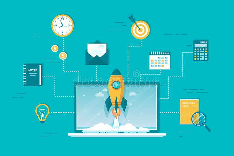 Business project startup, financial planning, idea strategy management realization success. Rocket launch from laptop. royalty free illustration