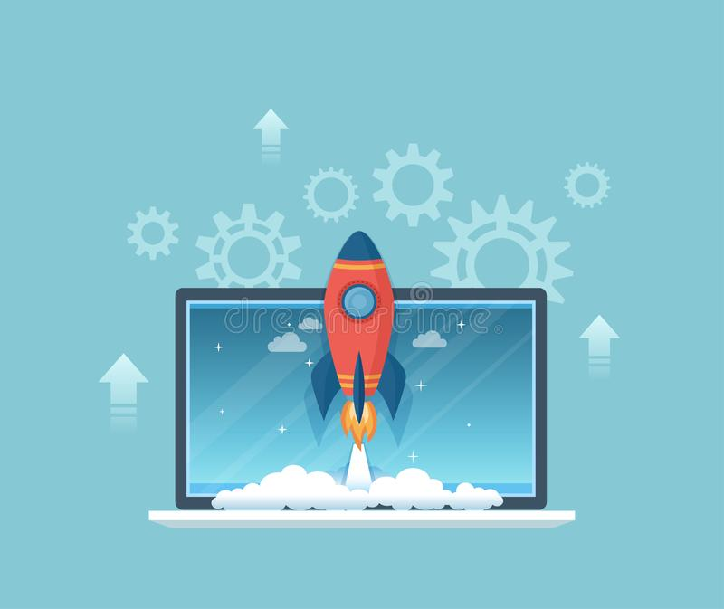 Business project startup, financial planning, idea, strategy, management, realization, success. Start up concept. Rocket ship stock illustration