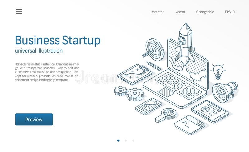 Business project startup modern isometric line illustration. Laptop rocket launch drawn sketch icon. Innovation, success vector illustration