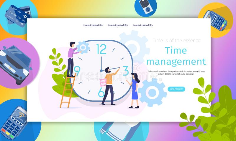 Business Project Time Management Character Banner vector illustration