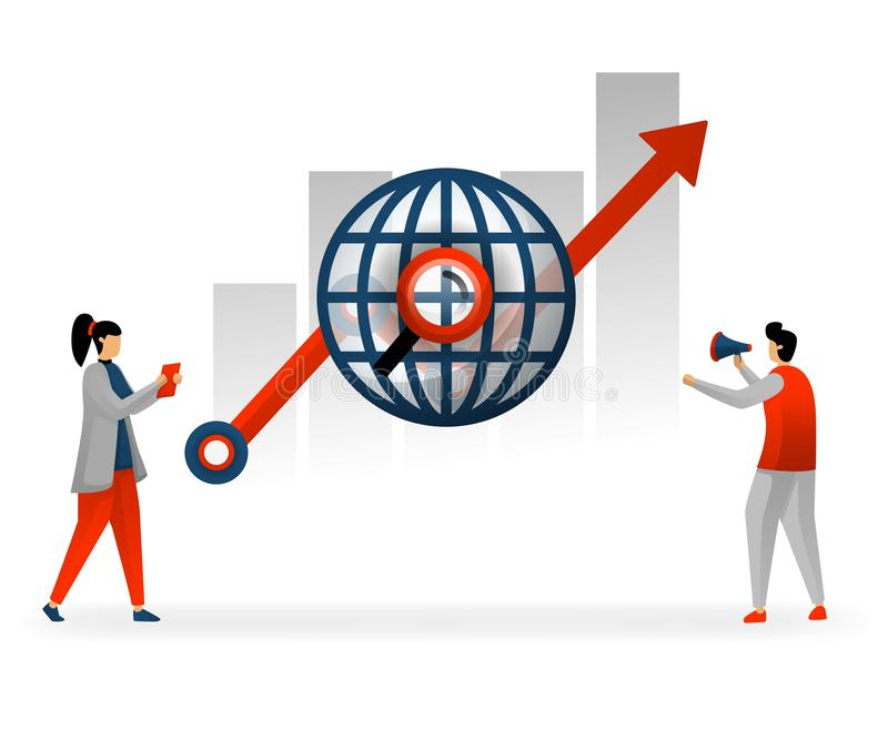 Business and promotion of vector illustration. following world trading in choosing best keywords, SEO to reach high traffic. SEO a. Nd keyword increase income royalty free illustration