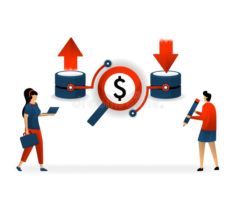 Business and promotion of vector illustration. good keywords and SEO make activity on website increase. download and upload on web. Site that chooses user royalty free illustration