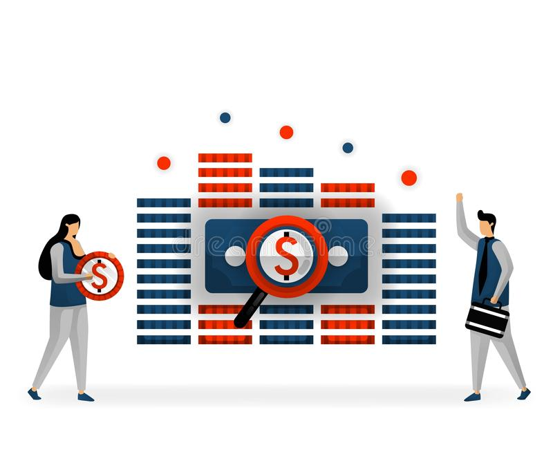 Business and promotion of vector illustration. keywords that bring high income, price of each keyword, paid SEO services. SEO logo. Maximize SEO on certain stock illustration
