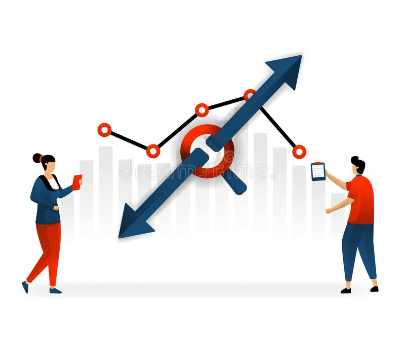 Business and promotion of vector illustration. low and high traffic depends on selection of keywords. Good SEO determine traffic o. N website. internet marketing vector illustration