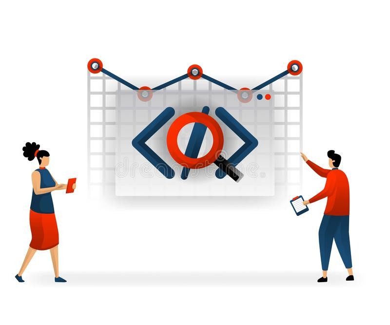 Business and promotion of vector illustration. Programming on website determine traffic. user interface on web determine SEO. ever. Y coding requires different vector illustration