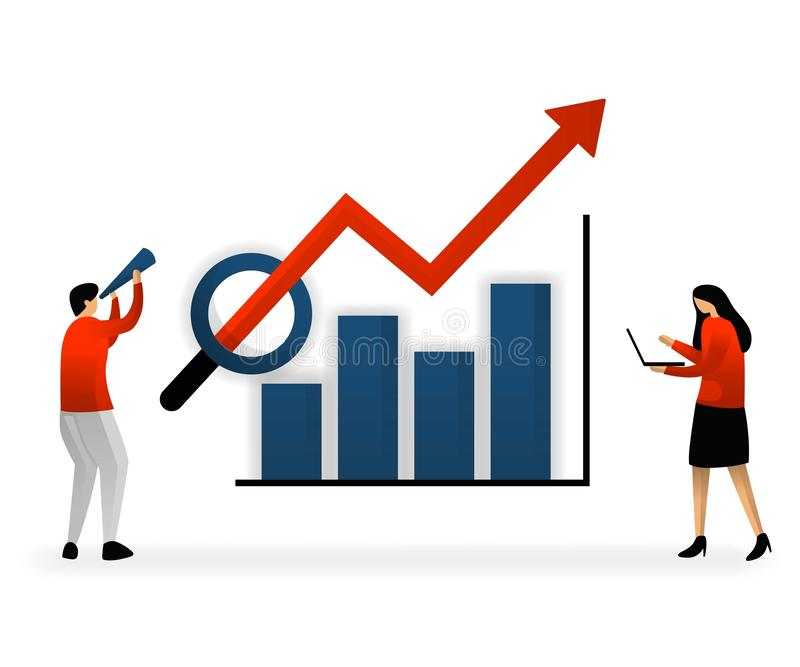 Business and promotion of vector illustration. SEO logo, analyze and search for keywords and determine sales growth targets, chart. S with stable and increasing royalty free illustration