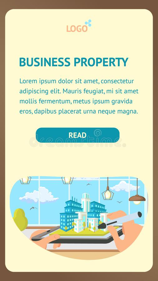 Business Property Landing Page Vector Template stock illustration