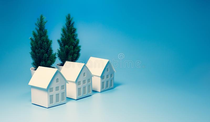Business property and real estate concepts with white model house on pastel color background. Environment and ecology ideas stock photo