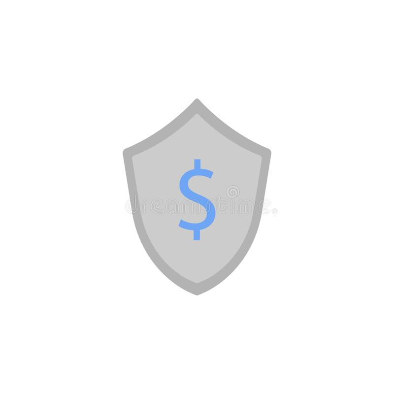 Business protection, insurance, money, savings, shield two color blue and gray icon vector illustration
