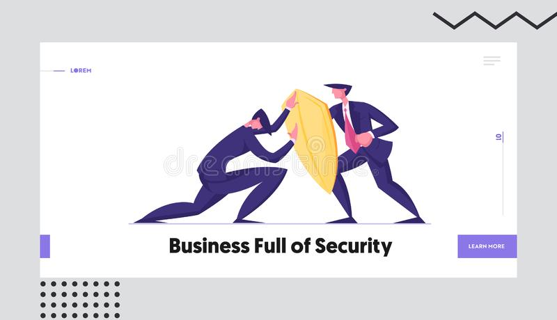 Business Protection, Onslaught and Confrontation Website Landing Page. Businessman Trying to Overcome Resistance. Attacking Man with Golden Shield Web Page vector illustration