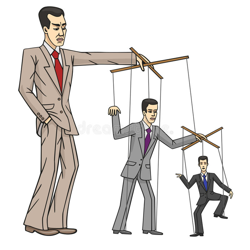 Business puppets. Caricature shows the boss manages his subordinates stock illustration