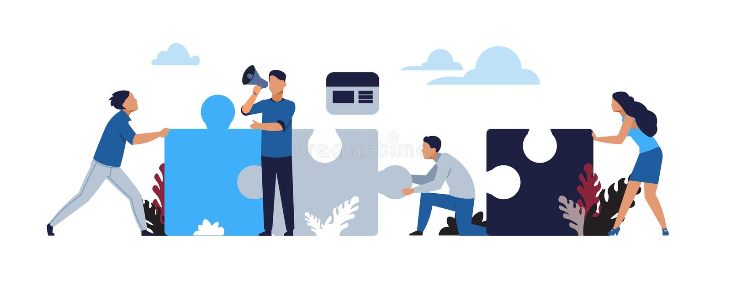 Business puzzle concept. Cartoon businessman partnership and collaboration, teamwork and success metaphor. Vector vector illustration