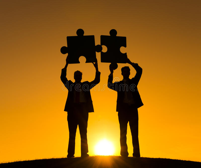 Business Puzzle Connect Cooperation Partnership Concept.  royalty free stock images