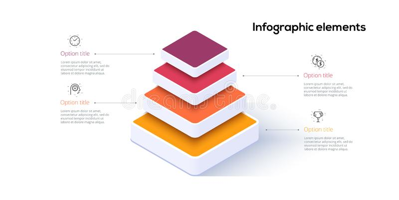 Business pyramid chart infographics with 4 steps. Pyramidal stages graph elements. Company hiararchy levels presentation template stock illustration