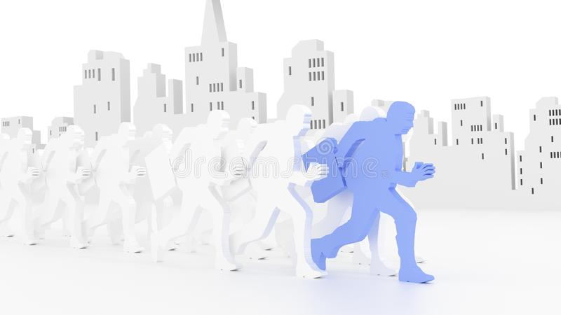 Business race in front of city skyline royalty free illustration