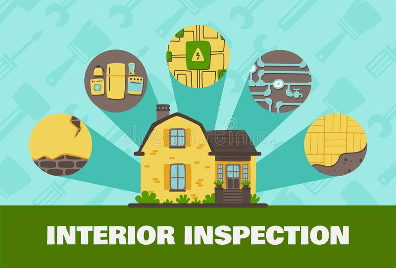 Business And Real Estate Flat Illustration Interior. Inspections vector illustration