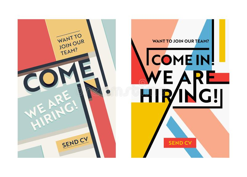 Business Recruiting Banner Design Set, Hiring Recruitment Posters, We Are Hiring Typography on Geometric Retro and Modern Shapes royalty free illustration