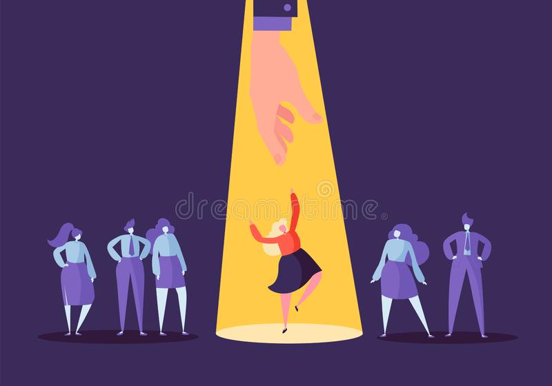 Business Recruitment Concept with Flat Characters. Employer Choosing Woman from Group of People. Hiring, Human Resources vector illustration