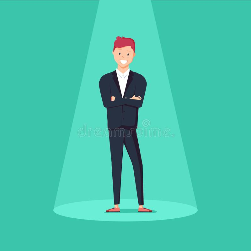 Business recruitment or hiring vector concept. Looking for talent. Businessman standing in spotlight or searchlight royalty free illustration