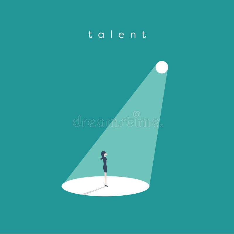 Business recruitment or hiring vector concept. Looking for talent. Businesswoman standing in spotlight or searchlight. Looking for new career opportunities stock illustration