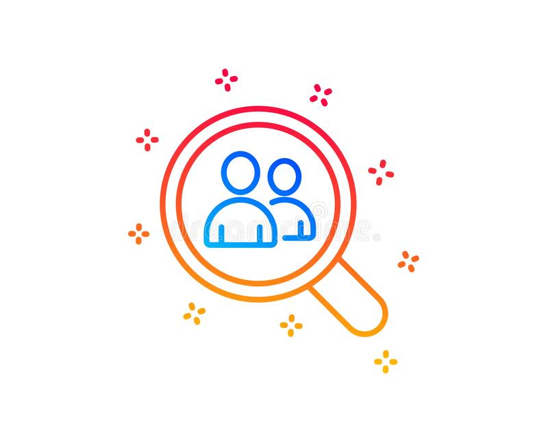Business recruitment line icon. Search employees. Vector. Business recruitment line icon. Search employees sign. Magnifying glass symbol. Gradient design vector illustration