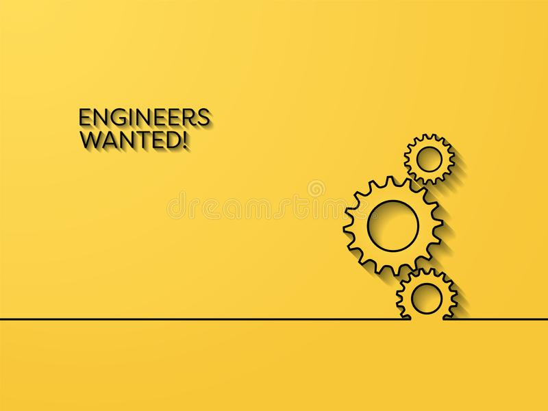 Business recruitment poster vector concept with engineering symbol. Symbol of career opportunity for engineers, in royalty free illustration