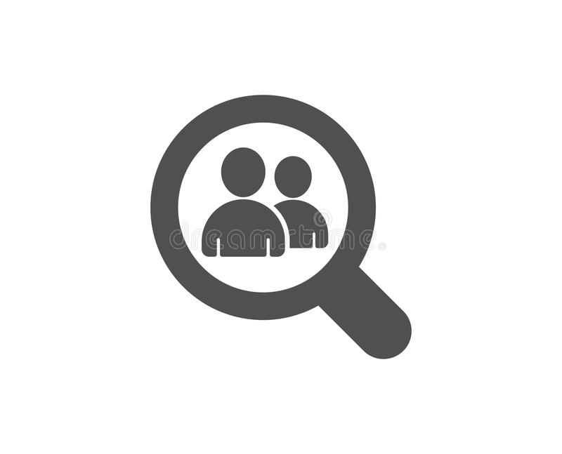 Business recruitment simple icon. Search employees. Business recruitment simple icon. Search employees sign. Magnifying glass symbol. Quality design elements royalty free illustration