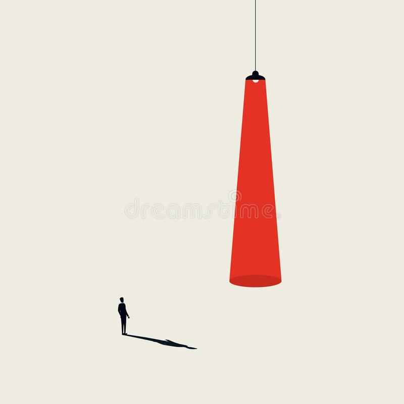 Business recruitment and talent headhunting vector concept. Businessman walking to spotlight. Minimalist art style. Symbol of career opportunity, new job royalty free illustration