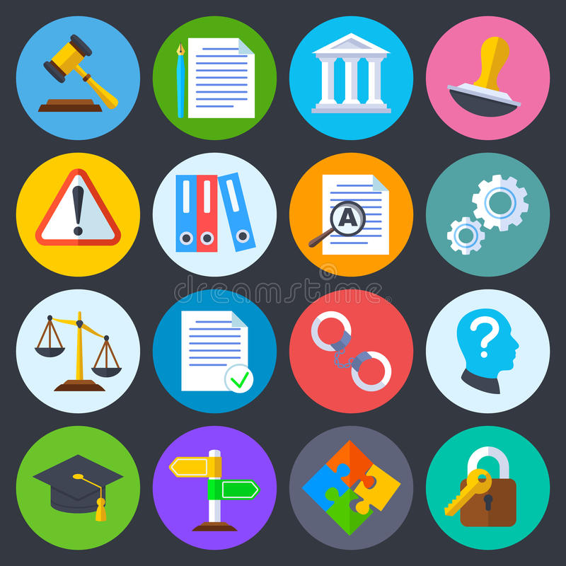 Business regulation, legal compliance and copyright vector flat icons. Law legal regulation, compliance and agreement contract illustration vector illustration