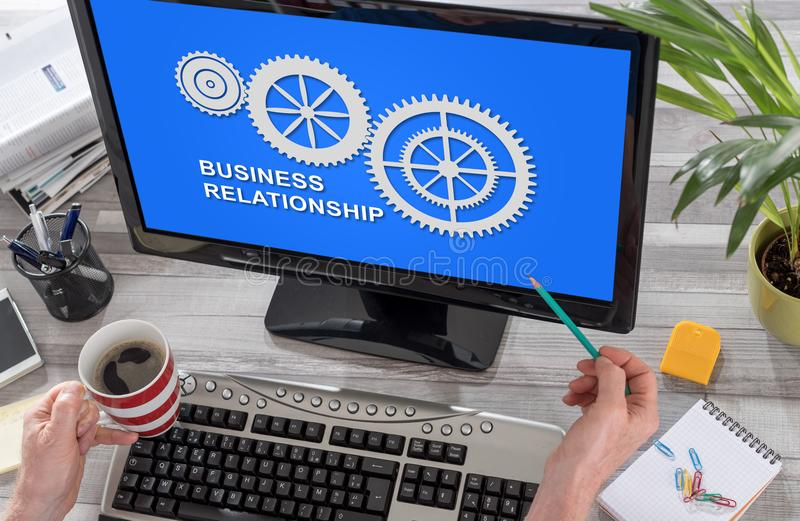 Business relationship concept on a computer. Screen stock images