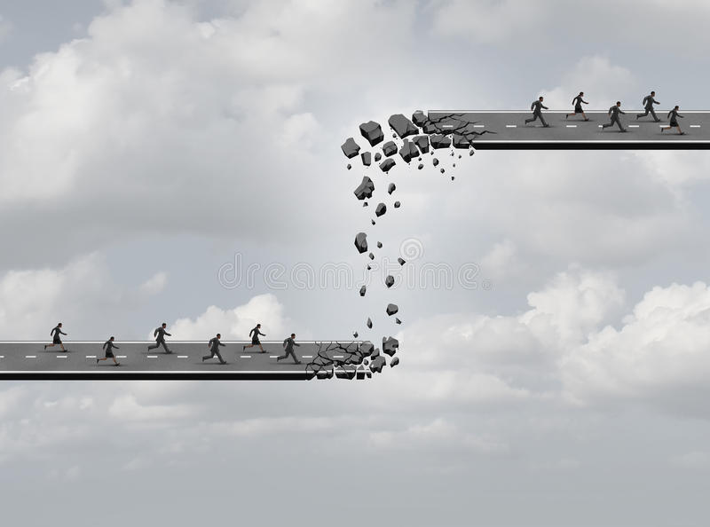 Business Relocation. Concept as a road breaking apart with the broken pieces creating a new highway of opportunity for another team of employees as an industry royalty free illustration