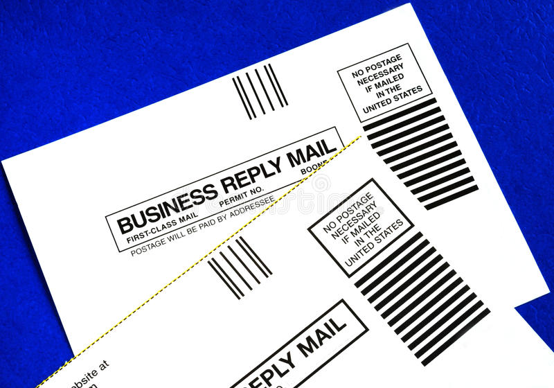 Download Business Reply Mails Isolated On Blue Stock Photo - Image of send, stamp: 15376672