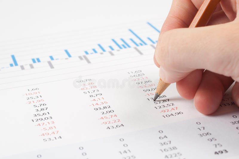 Business report analysis stock image