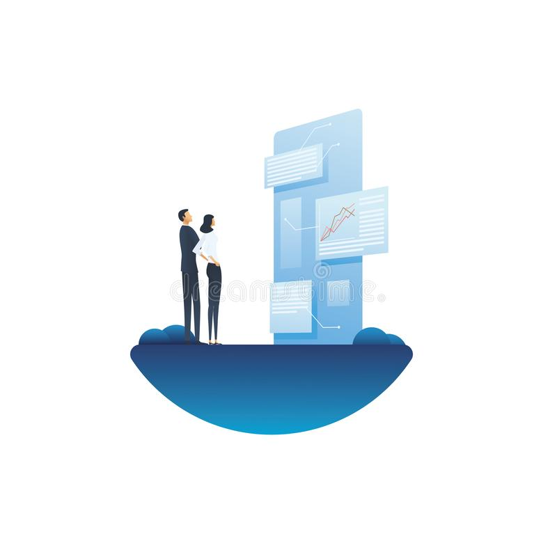 Business report and analysis vector concept with businessman and businesswoman looking at document. Symbol of planning vector illustration