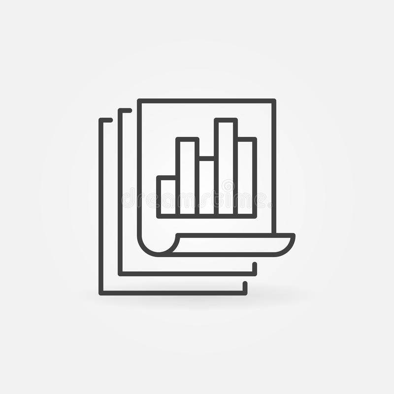 Business report with bar chart linear vector concept icon. Document papers outline symbol vector illustration