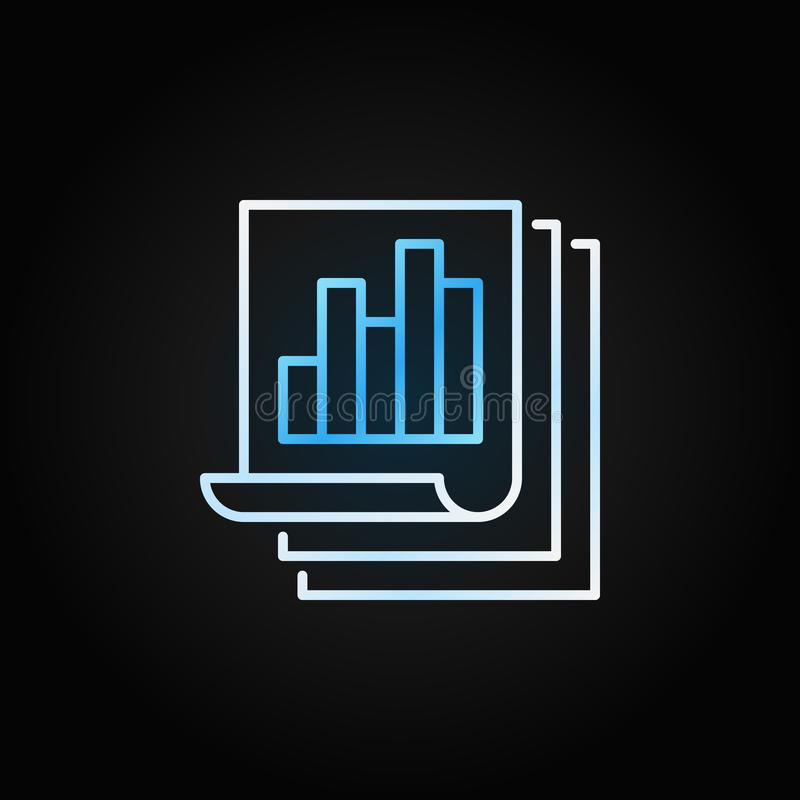 Business report with bar chart outline vector creative icon. Document papers thin line symbol on dark background royalty free illustration