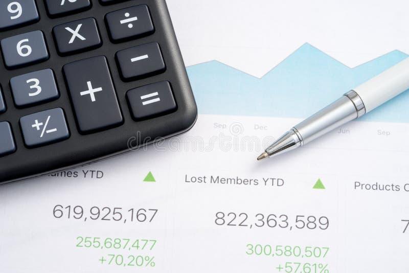 Business report calculator stock photo