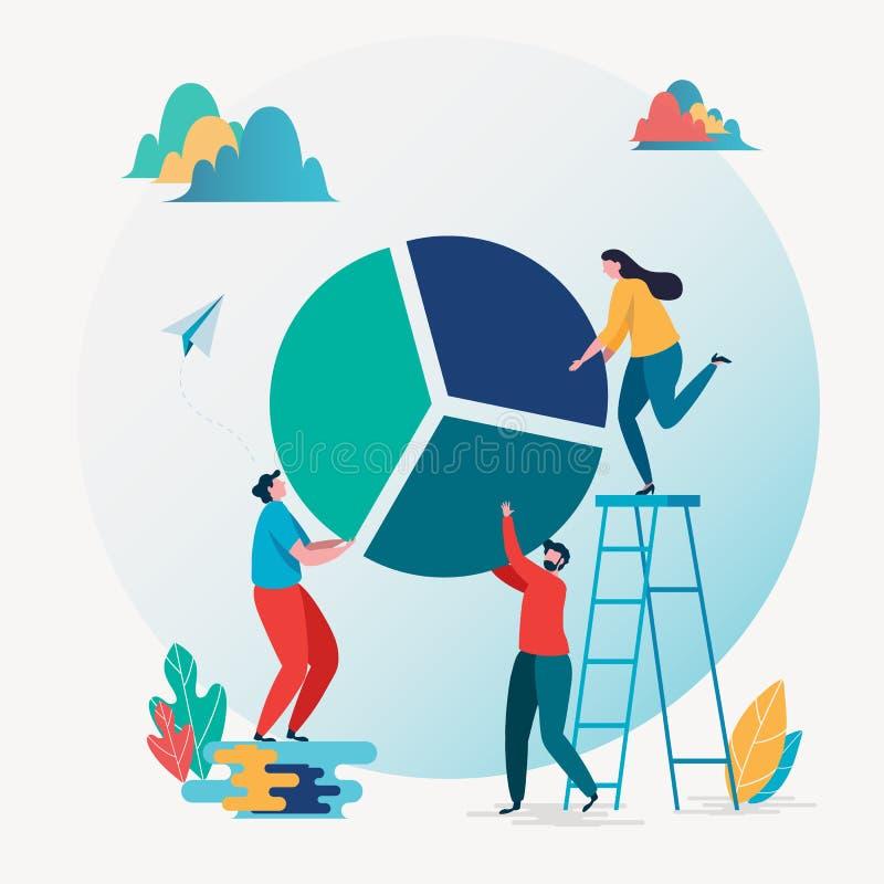 Business report. Financial management, Teamwork, Statistics, Pie chart. Vector illustration. Flat cartoon character graphic design stock illustration