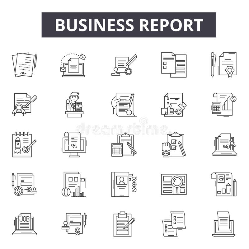 Business report line icons for web and mobile design. Editable stroke signs. Business report outline concept royalty free illustration