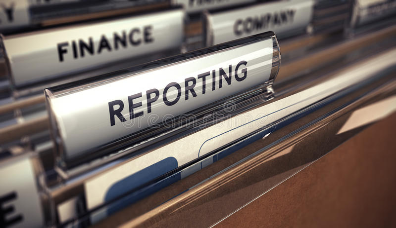 Business reporting. Close up on a file tab with the word reporting, focus on the main text and blur effect. Concept image for illustration of business report stock illustration