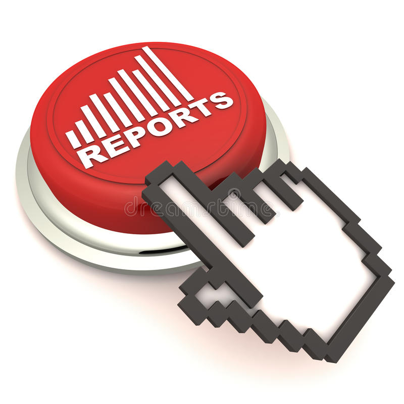 Business reports. Access business performance reports at press of a button concept, red button with report graph and hand icon over white background royalty free illustration