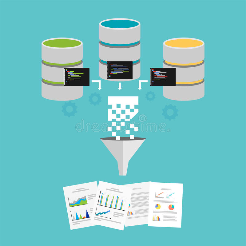 Business reports. Extract knowledge from data. Data mining or business intelligence. Extract knowledge from data. Data mining or business intelligence processing stock illustration
