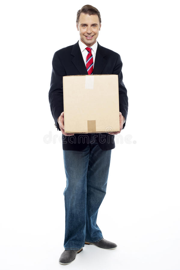 Download Business Representative Holding Cardboard Box Stock Image - Image: 26567229