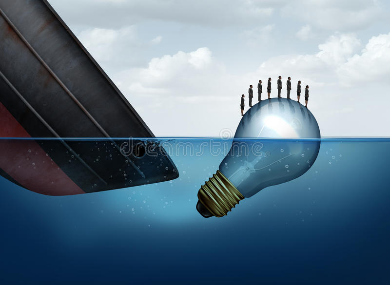 Business Rescue Solution. As a sinking ship and a floating lightbulb rescuing businesspeople as an insurance metaphor for surviving tough times as a group with stock illustration