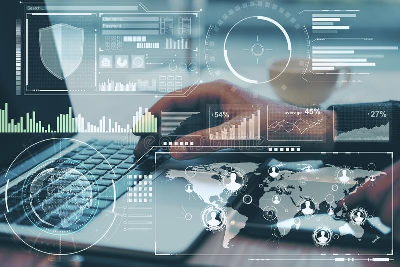 Business research concept with data analysis on digital screen and man working with laptop.Double exposure royalty free stock image
